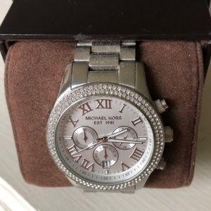 Michael Kors pavé sterling silver watch